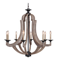 Jeremiah by Craftmade Winton 8 Light Chandelier in Weathered Pine and Bronze 35128-WP