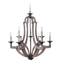 Jeremiah by Craftmade Winton 9 Light Chandelier in Weathered Pine 35129-WP
