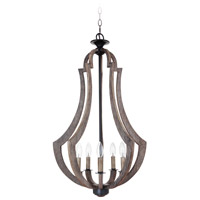 Jeremiah by Craftmade Winton 5 Light Entry Pendant in Weathered Pine 35135-WP