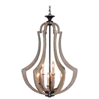 Jeremiah by Craftmade Winton 9 Light Chandelier in Weathered Pine and Bronze 35139-WP