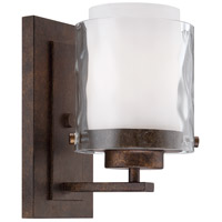 Kenswick 1 Light 5 inch Peruvian Bronze Wall Sconce Wall Light in Clear Hammered/Frosted Ribbed