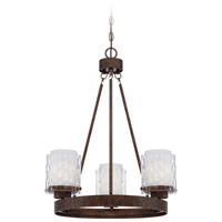 Craftmade 35423-PR Kenswick 3 Light 22 inch Peruvian Bronze Chandelier Ceiling Light in Clear Hammered/Frosted Ribbed