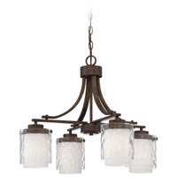 Craftmade 35424-PR Kenswick 4 Light 24 inch Peruvian Bronze Chandelier Ceiling Light in Clear Hammered/Frosted Ribbed