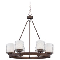 Kenswick 6 Light 29 inch Peruvian Bronze Chandelier Ceiling Light in Clear Hammered/Frosted Ribbed
