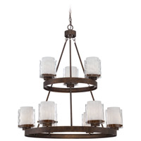 Craftmade 35429-PR Kenswick 9 Light 32 inch Peruvian Bronze Chandelier Ceiling Light in Clear Hammered/Frosted Ribbed
