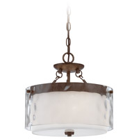Craftmade 35453-PR Kenswick 3 Light 14 inch Peruvian Bronze Semi-Flushmount Ceiling Light in Clear Hammered/Frosted Ribbed, Convertible to Pendant