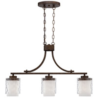 Kenswick 3 Light 31 inch Peruvian Bronze Island Pendant Ceiling Light in Clear Hammered/Frosted Ribbed