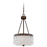 Kenswick 3 Light 14 inch Peruvian Bronze Pendant Ceiling Light in Clear Hammered/Frosted Ribbed