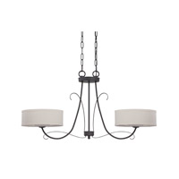 Jeremiah by Craftmade Ridgelea 2 Light Island Pendant in Textured Black 35772-TB