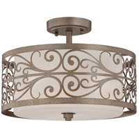 Worthington 3 Light 13 inch Athenian Obol Semi Flush Mount Ceiling Light in Frosted