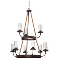 Craftmade 36129-ABZ Thornton 9 Light 40 inch Aged Bronze Chandelier Ceiling Light in Antique Clear
