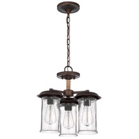 Craftmade 36153-ABZ Thornton 3 Light 16 inch Aged Bronze Semi-Flushmount Ceiling Light in Antique Clear, Convertible to Pendant