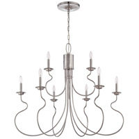 Jeremiah by Craftmade Clarion 9 Light Chandelier in Brushed Nickel 36229-BNK