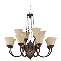 Evangeline 13 Light 36 inch Peruvian Bronze Chandelier Ceiling Light in Amber Frost Glass