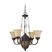 Evangeline 5 Light 27 inch Peruvian Bronze Chandelier Ceiling Light in Amber Frost Glass