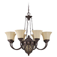 Evangeline 9 Light 32 inch Peruvian Bronze Chandelier Ceiling Light in Amber Frost Glass