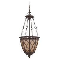 Evangeline 3 Light 11 inch Peruvian Bronze Foyer Ceiling Light in Amber Frost Glass