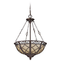 Evangeline 3 Light 17 inch Peruvian Bronze Inverted Pendant Ceiling Light in Amber Frost Glass