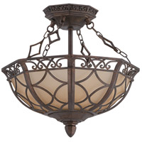 Evangeline 3 Light 13 inch Peruvian Bronze Semi-Flush Ceiling Light in Amber Frost Glass