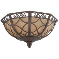 Evangeline 3 Light 13 inch Peruvian Bronze Flushmount Ceiling Light in Amber Frost Glass