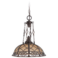 Evangeline 1 Light 16 inch Peruvian Bronze Pendant Ceiling Light in Amber Frost Glass