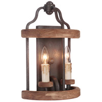 Jeremiah by Craftmade Ashwood 2 Light Wall Sconce in Textured Black and Whiskey Barrel 36502-TBWB