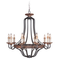 Jeremiah by Craftmade Ashwood 10 Light Chandelier in Textured Black and Whiskey Barrel 36510-TBWB