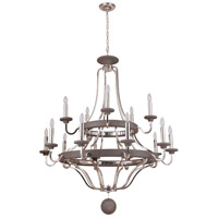 Craftmade 36515-PLNGRW Ashwood 15 Light 44 inch Polished Nickel and Greywood Chandelier Ceiling Light