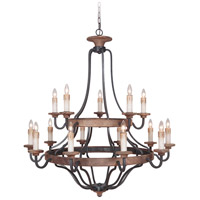 Jeremiah by Craftmade Ashwood 15 Light Chandelier in Textured Black and Whiskey Barrel 36515-TBWB