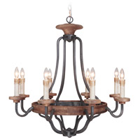 Jeremiah by Craftmade Ashwood 8 Light Chandelier in Textured Black and Whiskey Barrel 36528-TBWB