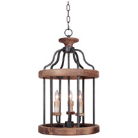 Ashwood 3 Light 16 inch Textured Black and Whiskey Barrel Foyer Light Ceiling Light