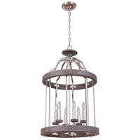 Craftmade 36536-PLNGRW Ashwood 6 Light 20 inch Polished Nickel and Greywood Foyer Light Ceiling Light