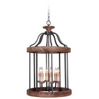 Jeremiah by Craftmade Ashwood 6 Light Foyer in Textured Black and Whiskey Barrel 36536-TBWB