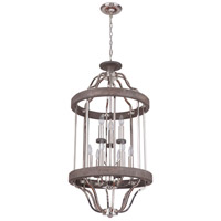 Craftmade 36539-PLNGRW Ashwood 9 Light 20 inch Polished Nickel and Greywood Foyer Light Ceiling Light