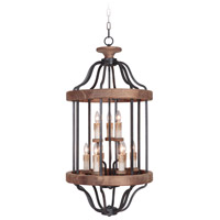 Jeremiah by Craftmade Ashwood 9 Light Foyer in Textured Black and Whiskey Barrel 36539-TBWB