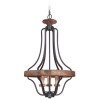 Jeremiah by Craftmade Ashwood 3 Light Pendant in Textured Black and Whiskey Barrel 36543-TBWB