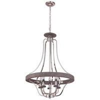 Craftmade 36545-PLNGRW Ashwood 5 Light 26 inch Polished Nickel and Greywood Pendant Ceiling Light