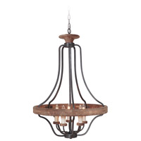 Jeremiah by Craftmade Ashwood 5 Light Pendant in Textured Black and Whiskey Barrel 36545-TBWB