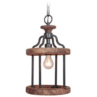 Jeremiah by Craftmade Ashwood 1 Light Pendant in Textured Black and Whiskey Barrel 36591-TBWB