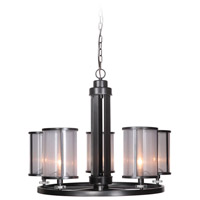 Craftmade 36725-MBK Danbury 5 Light 29 inch Matte Black Chandelier Ceiling Light in Organza Wrapped