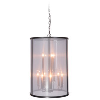 Danbury 9 Light 20 inch Matte Black Foyer Light Ceiling Light in Organza Wrapped
