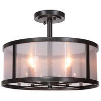 Danbury 4 Light 18 inch Matte Black Semi Flush Mount Ceiling Light in Organza Wrapped