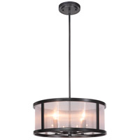 Danbury 4 Light 18 inch Matte Black Pendant Ceiling Light in Organza Wrapped