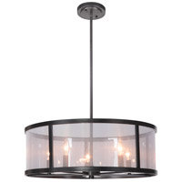 Danbury 5 Light 25 inch Matte Black Pendant Ceiling Light in Organza Wrapped