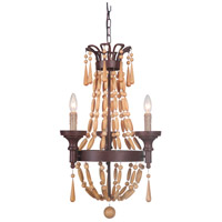 Jeremiah by Craftmade Berkshire 3 Light Mini Chandelier in Aged Bronze with Unfinished Light Wood Beads 36823-AG