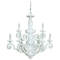 Atelier 9 Light 34 inch Gloss White Chandelier Ceiling Light