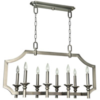 Lisbon 8 Light 37 inch Antique Nickel Linear Chandelier Ceiling Light