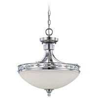 Saratoga 3 Light 17 inch Chrome Semi-Flushmount Ceiling Light in White, Convertible to Pendant