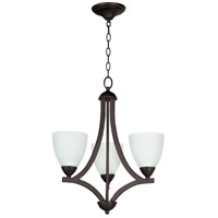 Craftmade 37723-OLB-WF Almeda 3 Light 20 inch Old Bronze Chandelier Ceiling Light in White Frosted Glass