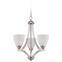 Craftmade 37723-SN Almeda 3 Light 20 inch Satin Nickel Chandelier Ceiling Light in Frost White